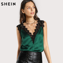 SHEIN Lace Trim Double V Neck Satin Silk Top Sexy Tops for Women Fitness Tank Top Green Elegant Women's Sleeveless Tops(China)