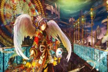 Home decoration angel wings original japanese anime character girl Silk Fabric Poster Print DM028