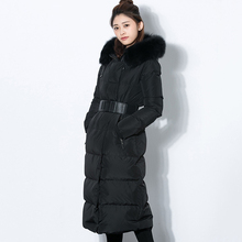 2016 Winter women down jacket coat black Slim big real fox fur Hoode long down jacke jaqueta feminina mujer manteau female parka