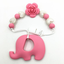 Silicone Teething Pacifier Clip with rose flower - silicone Universal Soother Clip necklace- baby teething elephant pendant toys