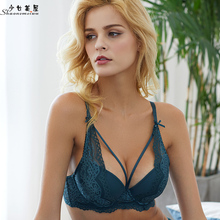 Buy shaonvmeiwu Autumn winter sexy belt lace brassieres women's underwear gathered bra thin thick