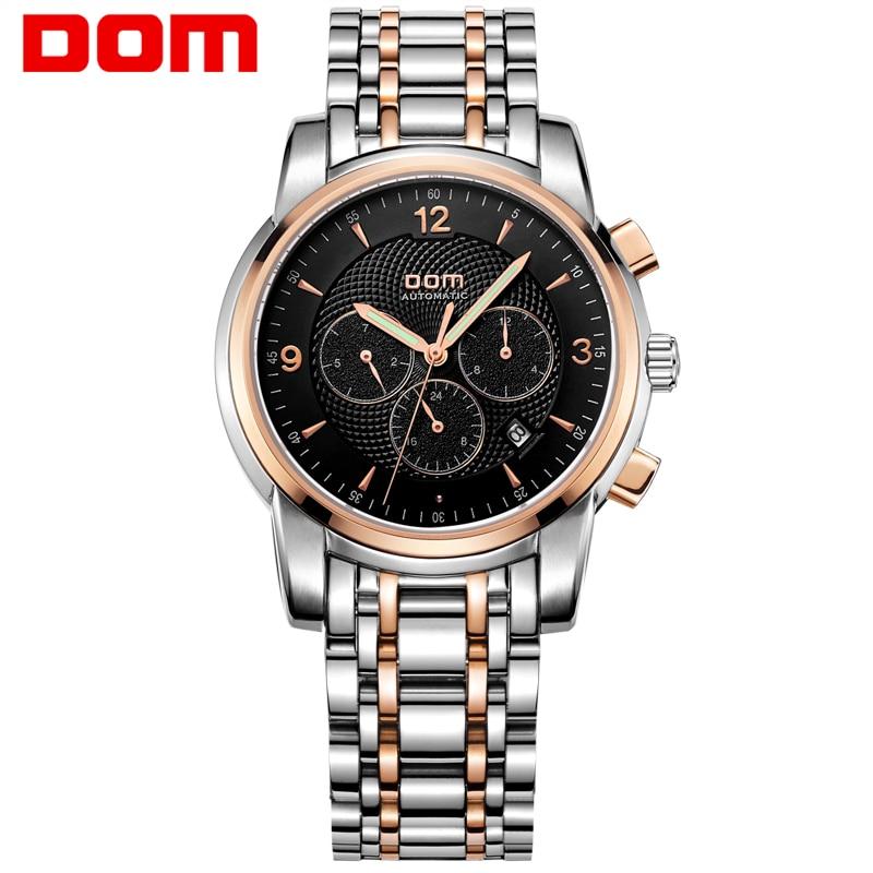 DOM Men mens watches top brand luxury waterproof mechanical stainless steel watch Business gold watch reloj M-813<br><br>Aliexpress