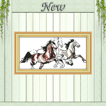 Three Running horses animal Pattern Print on Canvas DMC 14CT 11CT DMS Cross Stitch DIY Needlework Kit Embroidery Sets Home Decor