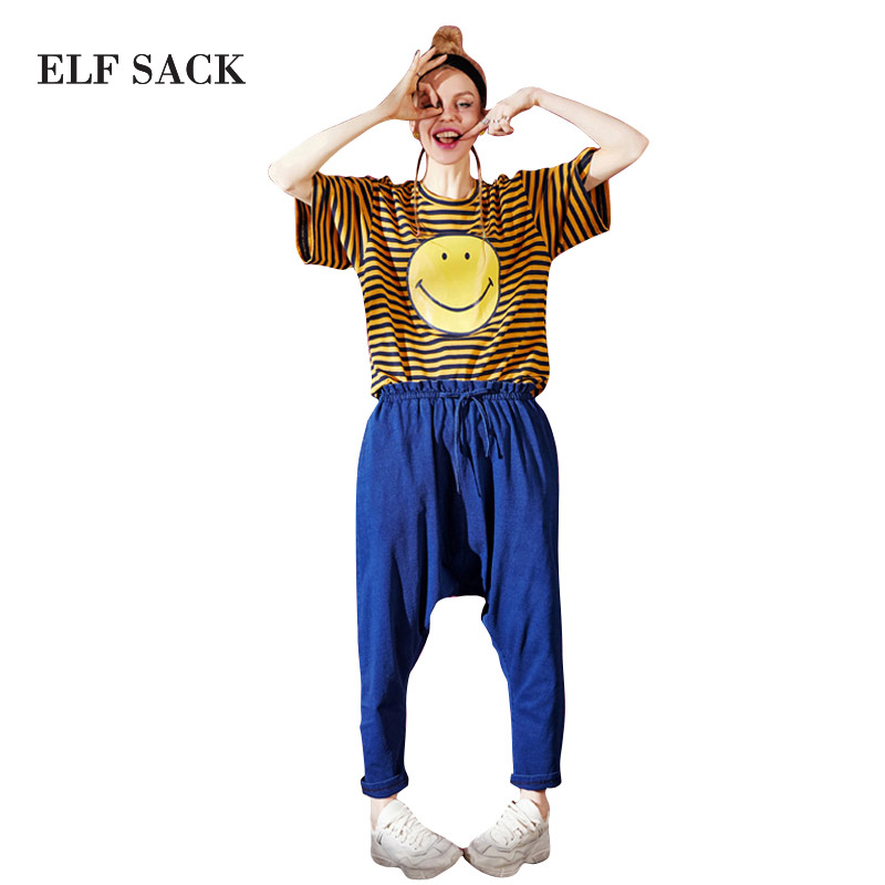 ELF SACK Summer Women 2018 Top Fashion Blue Lady Jeans Pants Solid Mid Waist Casual Loose Trousers Korea Style Female Pants