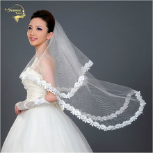 130cm Long !  Wholesale New Applique Free Shipping ! Hot Sale ! Bridal Veil Wedding Veils BRIDAL ACCESORIES Flower VEIL OV3915