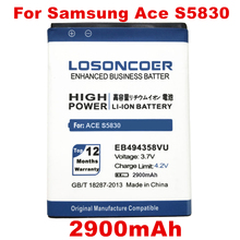 LOSONCOER 2900mAh EB494358VU for Samsung Galaxy Ace S5830 Battery S6802 B7510 I569 I579 I619 S5660 S5670 S5830I S5838 S6108 5830