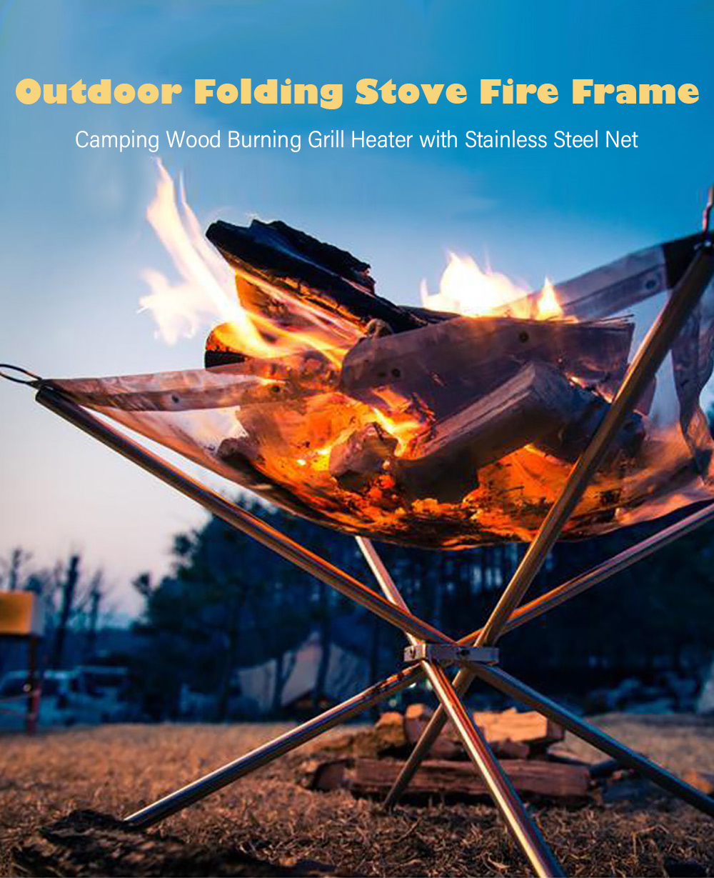 Selpa Portable Folding Stove Fire Frame Camping Wood Burning Grill Heater Stainless Steel Net