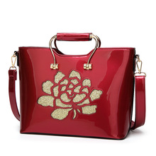 patent leather women handbags 2017 new fashion floral PU female shoulder handbag bag hot burgundy flower decoration women bags(China)