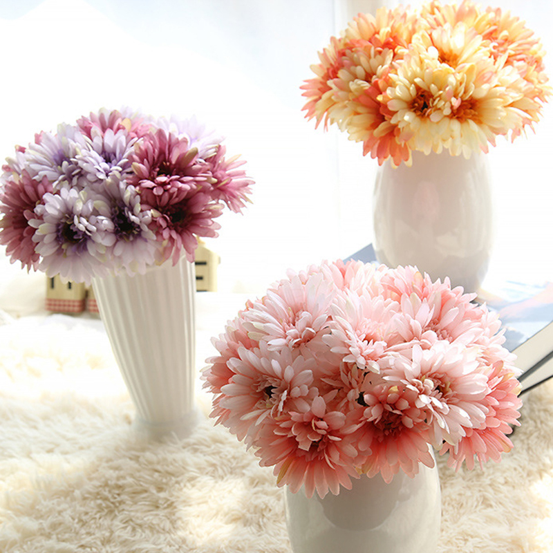 New 7pcs/Bunch Lots Artificial Flowers Silk Flowers Artificial Gerberas Flowers for Home Decoration Wedding Bouquets 02032(China (Mainland))
