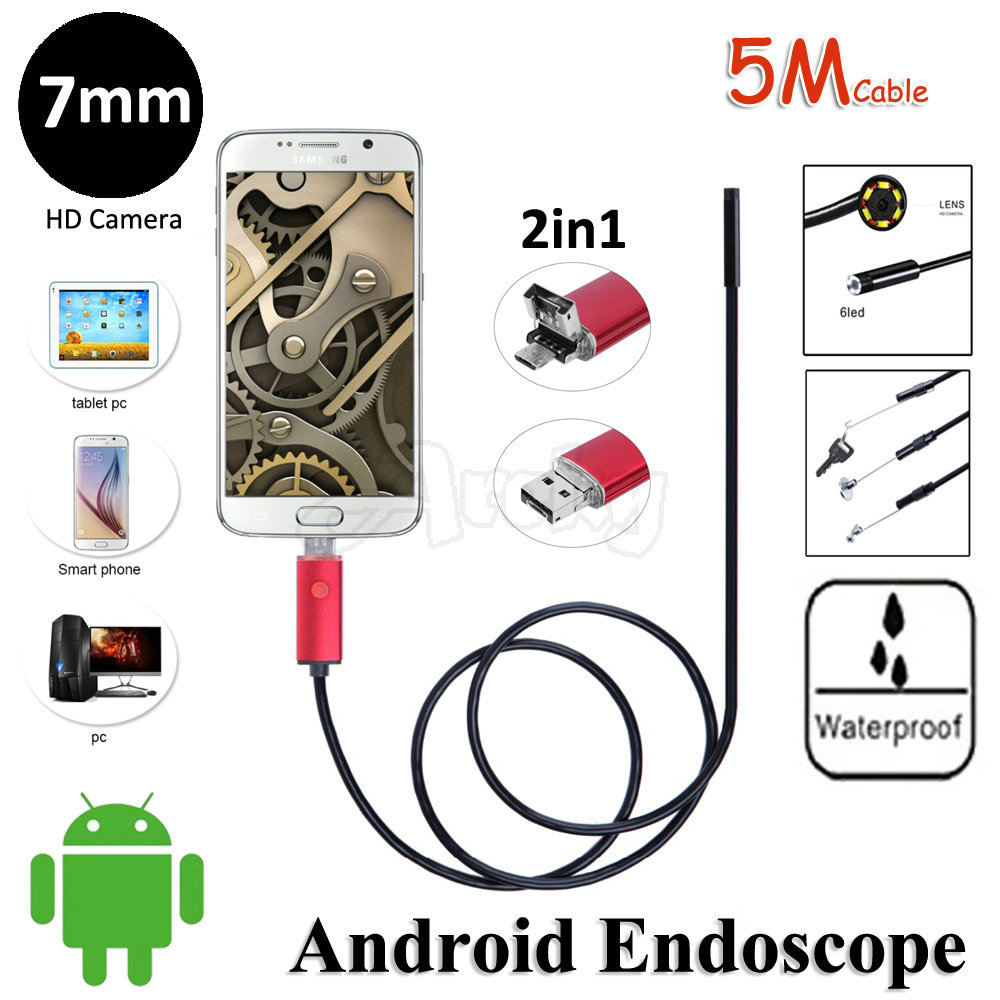 6LED 7mm Lens OD 2In1 Android OTG USB Endoscope Camera 5M Flexible Snake Pipe Inspection USB Android PC 2in1 Borescope Camera<br><br>Aliexpress