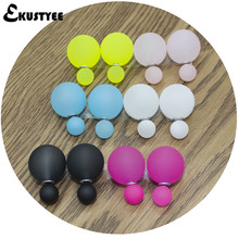 6 Pairs/lot Mix Colors Two Ball Fashion Pearl Earrings Brincos Big Double Side Earrings Jewelry for Women