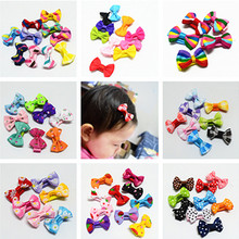 10 Pcs/ Lot Small Mini Bow Hairgrips Sweet Girls Solid Dot/ Stripe Printing Whole Wrapped Safety Hair Clips Kids Hairpins(China)