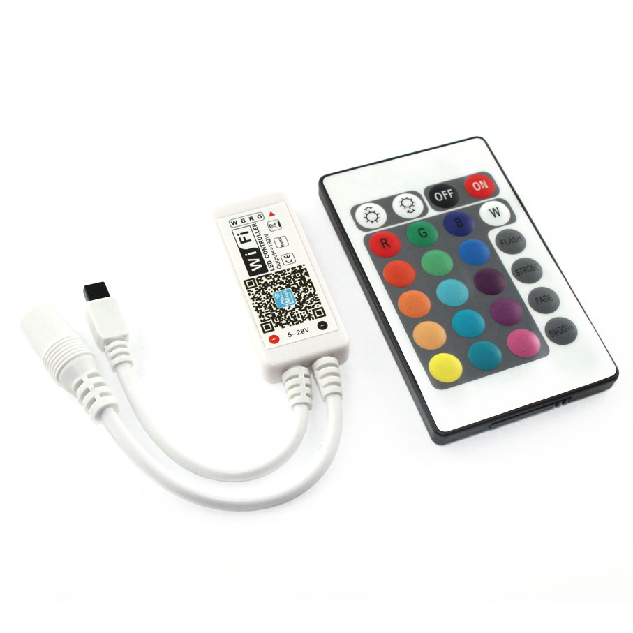 C17-RGB Magic Home Wifi LED RGB   Controler DC12V MIni Wifi + 24 IR Key Remote Controller for RGB  LED Strip