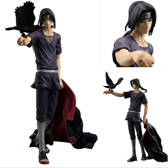New 23cm Uchiha Itachi action figure with crows Naruto anime model toy pvc toy Japanese doll juguetes christmas gifts  hot sale<br>