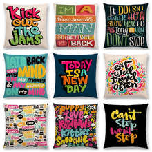 Colorful Pattern Decorative Letters Meaningful Words Interesting Phrases Good Day Sun Happy Cushion Cover Sofa Throw Pillow Case(China)