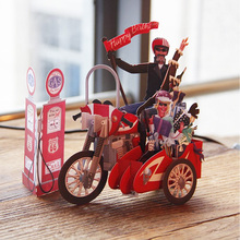 Birthday Motorcycle Bike 3D paper laser cut pop up handmade post cards custom gift greeting cards souvenirs party supplies