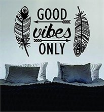 Brand Printed Wall Vinyl Decals Feathers Good Vibes Only Words Wall Decor Sticker Home Decor Living Study Room Bedroom Designer