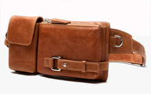 Fashion Genuine Leather waist bag for men fanny pack Leather belt bag waist pack bum bag money belt waist pouch molle pochete(China)