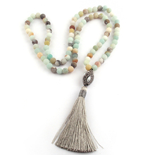 Free Shipping Amazonite Stones Bohemian Tribal Jewelry Oval Pearl Crystal Ball and Grey Tassel Necklace