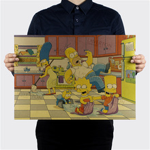 Free shipping,The Simpsons E Style/classic Cartoon Comic /kraft paper/bar poster/Retro Poster/decorative painting 51x35.5cm