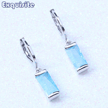 Unigue Cheap Drop Dangle Earrings Sky Blue Ice Crystals Stone Silver Color For Women Trendy Valentine's Day Gift L0014