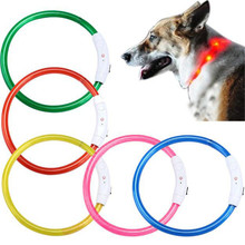 New Qualified Rechargeable USB Waterproof LED Flashing Light Band Safety Pet Dog Collar dig6229