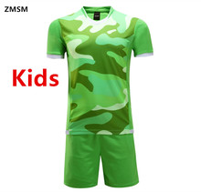 ZMSM Kids Football Uniforms Short sleeves Children's Soccer Jerseys Sets 2017 survetement football Training Suit Jun66005-2(China)