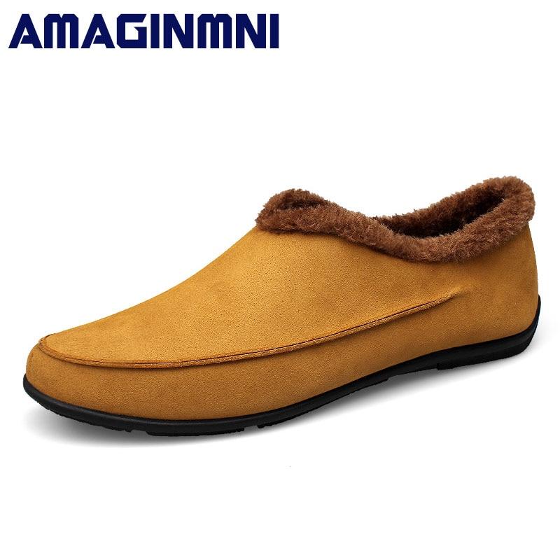 AMAGINMNI Brand Winter warm mens casual shoes Solid Color fashion Slip on shoes men Outdoor Shoes Comfortable Plus size 37-48<br>