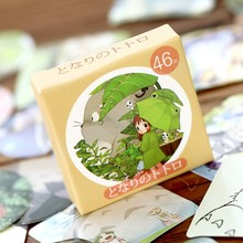 45pcs/box Cute totoro collection adhesive hand paper stickers Candy box diy gift card gift bag decoration Holiday party supplies