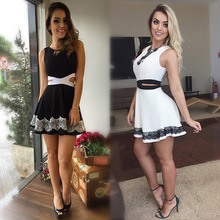 New Design Sexy Women Hollow Out Waist Floral Dress Bandage Sleeveless Lace Party Wear Round Neck Summer Short Mini Dress