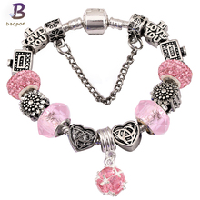 BAOPON Sliver Plated Charm Bracelets For Women With Nice Murano Beads Fit Original pandora Bracelet for Women Jewelry Gift BR177