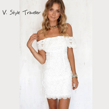 Sexy off the Shoulder White Lace Dress Women Casual vestido de festa feminino Monos Summer Style High Slit Party Boho Dresses(China)