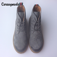 Careaymade-European&US style Vintage Martin boots half ankle short natrual genuine leather boots/women motorcycle snow boots