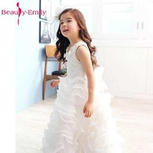Beauty Emily White Lovely Little Flower Girl Dresses 2017 with Pleat Ruffles Appliques Sleeveless Organza Bow Ball Gown Lovely(China)