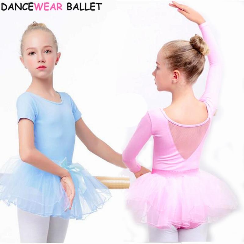 Girls Chiffon Long Sleeve Ballet Dance Tutu Dress Gymnastics Leotard Dancewear
