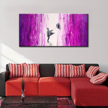 Wall Pictures Modern Children In Purple Rain Oil Paintings On Cnavas Abstract Colorful Landscape Artwork For Home Decor Unframed