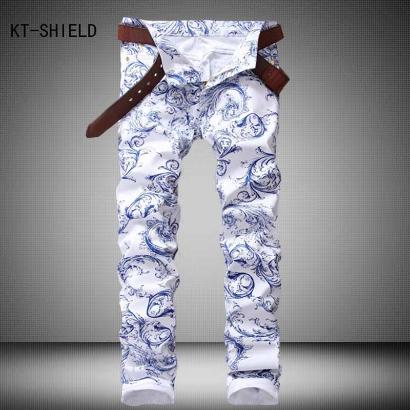 High Quality 3D White spray Printed Jeans Men Fashion Denim Mens Jeans New Famous Brand Elastic Skinny Jeans Casual Men ClothingОдежда и ак�е��уары<br><br><br>Aliexpress