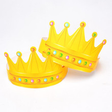 New Yellow Birthday Crown Cap Hat Cake Shop Caps Kids Adults Head Decoration Birthday Supplies Hats Party Christmas(China)