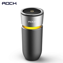 ROCK Cup Car Air Purifier Charger, Alloy Air cleaner Car-charger, Strong Air Purifier with car phone charger function(China)