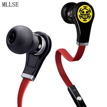 MLLSE Anime One Piece Trafalgar Law Skull Cartoon In-ear Earphone AUX Wired Stereo Earbuds Sports Mic Headset for Phone MP3 PC