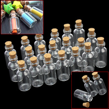 20 Pcs/set 5ml Cute Mini Wishing Vials New Tiny Clear Cork Lid Empty Glass Bottles Jars Containers Home Decoration 40x18x18mm