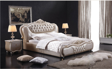 diamond tufted buttons French contemporary genuine leather bed modern bedroom furniture China