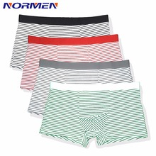 NORMEN 2018 New Men's Fashion Striped Modal Trunks Breathable Comfortable Boxers Casual Underwear Men Sexy Gay Short Shorts Man(China)
