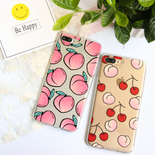 FENCUS Juicy Peach Phone Case For iphone 7 6 6S 5SE Case Fruit Cherry Transparent Soft TPU Coque For iphone 7 7Plus 8 Back Cover