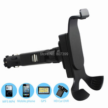 Dual USB Car Cigarette Lighter Charger Cell phone mount Holder for Samsung Galaxy I9500 S3 S4 iPhone 4 4S 5 5S 6 Plus Universal