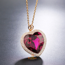 N331421B Luxurious big blue purple heart crystal necklaces zinc alloy rose gold color with Austria crystal fashion jewelry gift