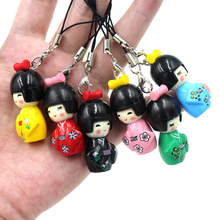 10pcs/Lot Japan Lucky Kimono Girl Mobile Phone Straps Charm Dolls Gifts