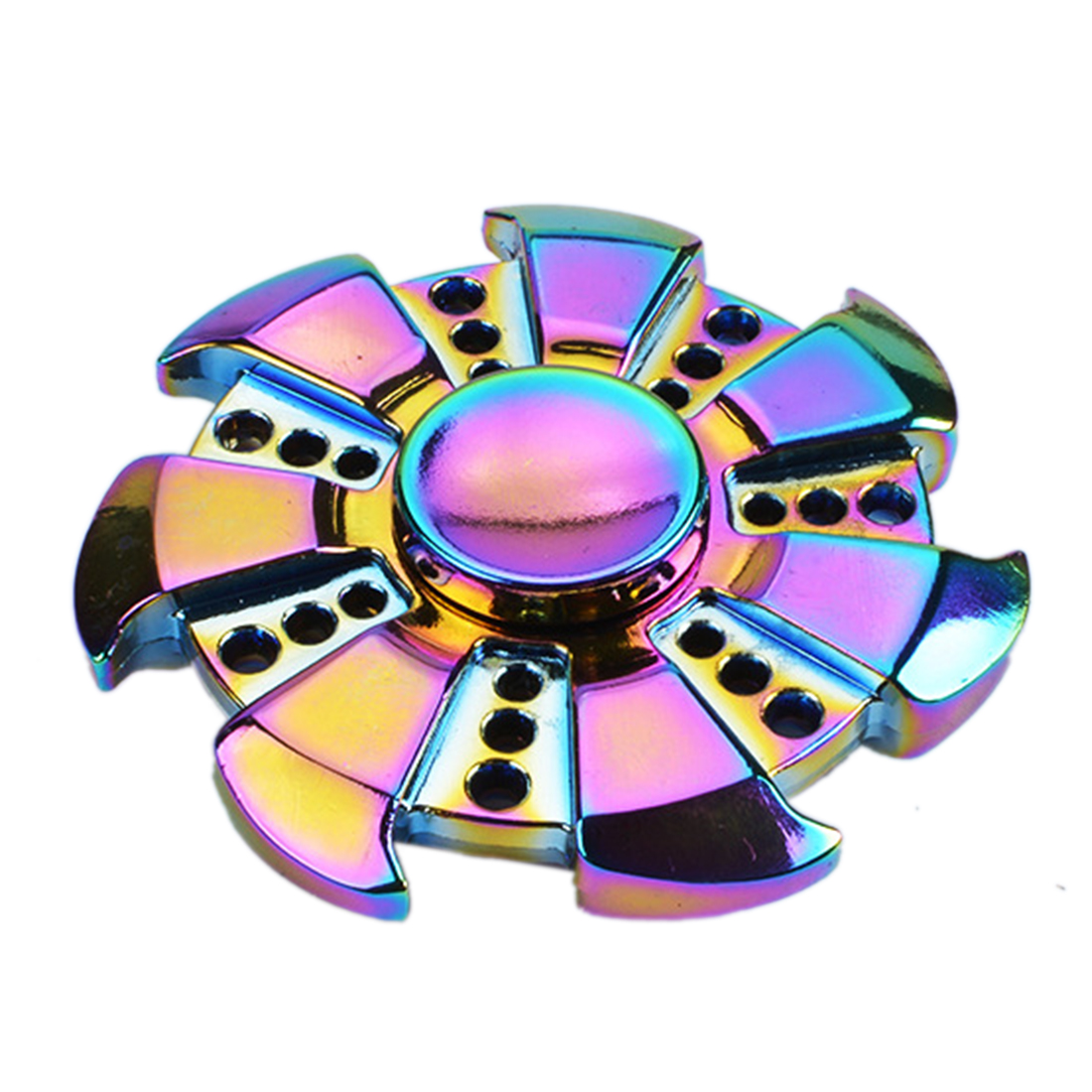Babelemi Rainbow Color Zinc Alloy Tri-Spinner Fidget Hand Spinner Toys Autism ADHD Kids/Adult Funny Anti Stress Toy