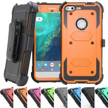 New Heavy Duty Armor Case Holster With Belt Clip KickStand Anti Shock Hard Phone Cover Case For Google Pixel/Pixel XL(China)