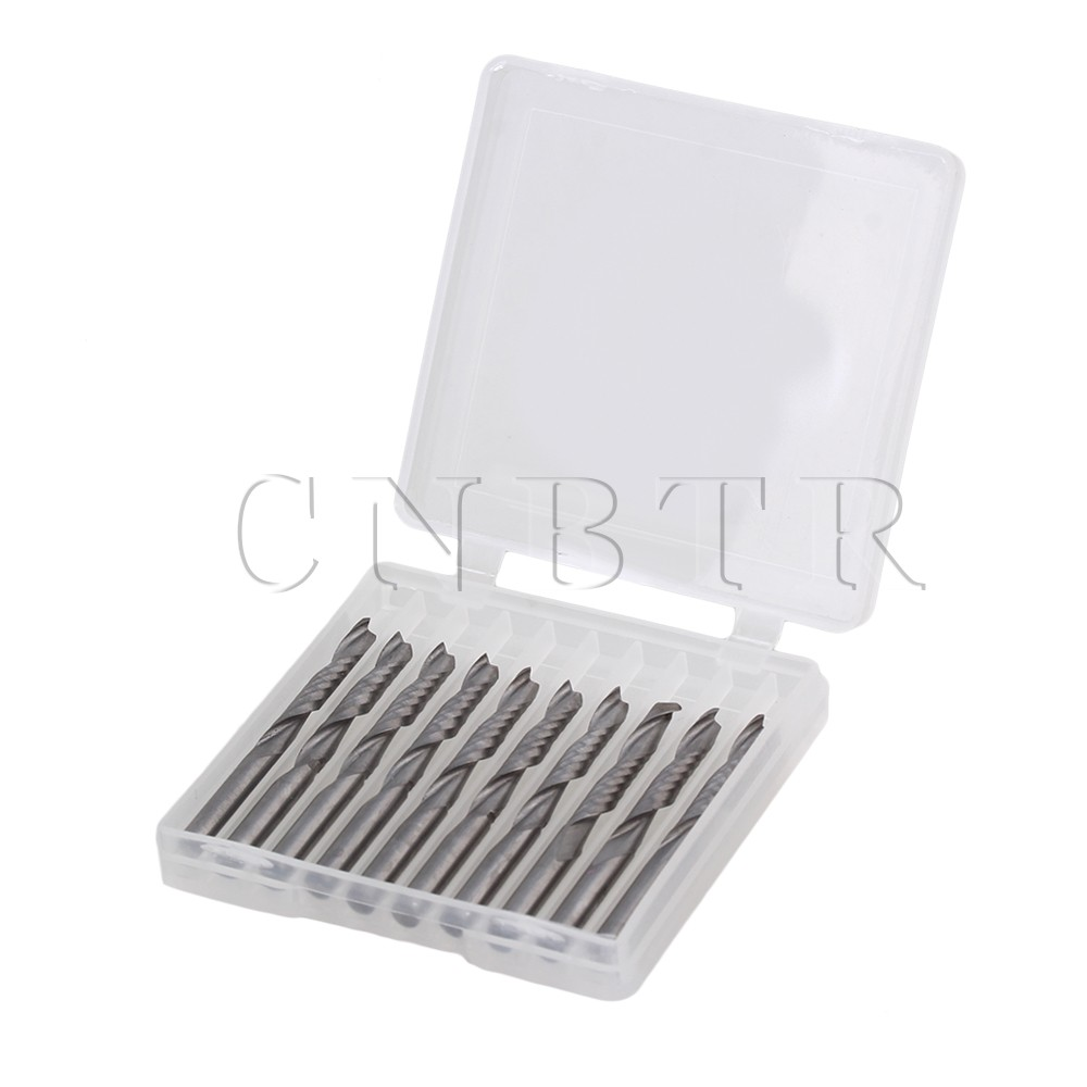 CNBTR 10PCS 1/8 22mm Single Flute Spiral Router Bits Fits For Acrylic PVC Wood<br><br>Aliexpress